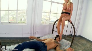 Puma Swede makes Asian guy eat her panties and feet