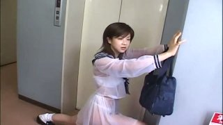 Stupid Jap teen Aki Hoshino rides subway in the sailor outfit