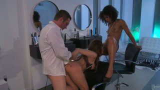 Ebony babe Misty Stone and white chick Aleksa Nicole get banged by one dude
