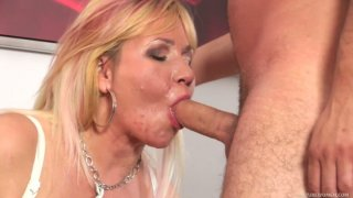 Chubby mature blonde Emily is hammered by Charlie from behind