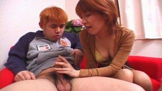 Astonishing redhead Ayaka Hoshino gives a stout blowjob for sperm