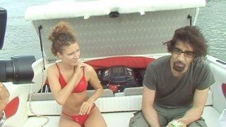 Sex on a motor yacht with charming curly girl Stephanie Sierra