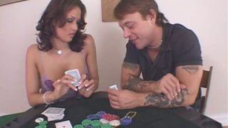 Comely brunette busty babe Tory Lane gets fucked after playing poker