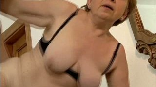Nasty old and fat blonde whore Jenny works on young cock