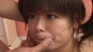 Dude eats hairy teen snatch of Hinata Seto and she blows his cock