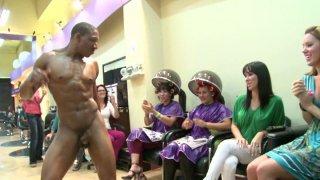Black whore swallows stripper's cumshot