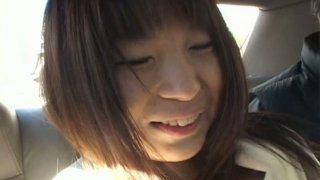 Hefty Japanese girl Mana Iizuka is pleasured on a backseat while riding