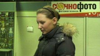 Kinky Russian bitch watches her stinky twat