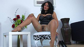Busty black Milf in stockings