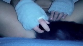 Kitten playing with vibrator