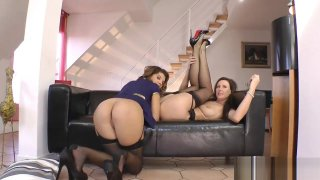 British milfs doggystyled in pov threesome