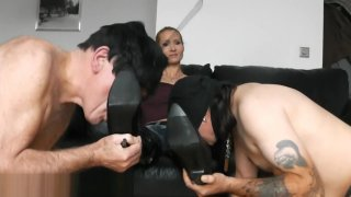 TWO SLAVES SUCK MISTRESS BOOTS