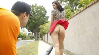 Gardener Blows Skirt Over - Taught Lesson