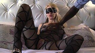 Blonde Milf in pantyhose taking black