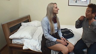 Blonde college girl gets fucked by Asian guy